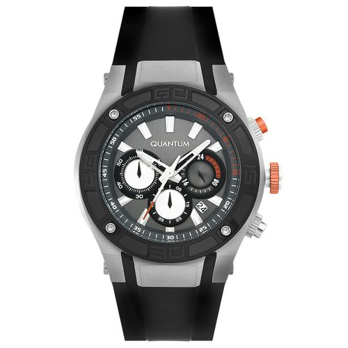 Quantum POWERTECH, silver/black, 47x53mm, silicone black