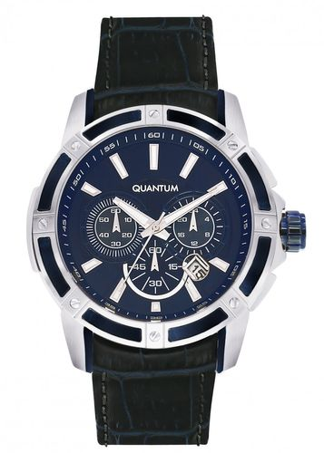 Quantum POWERTECH, silver-/blue, 48x55,5mm, leather blue