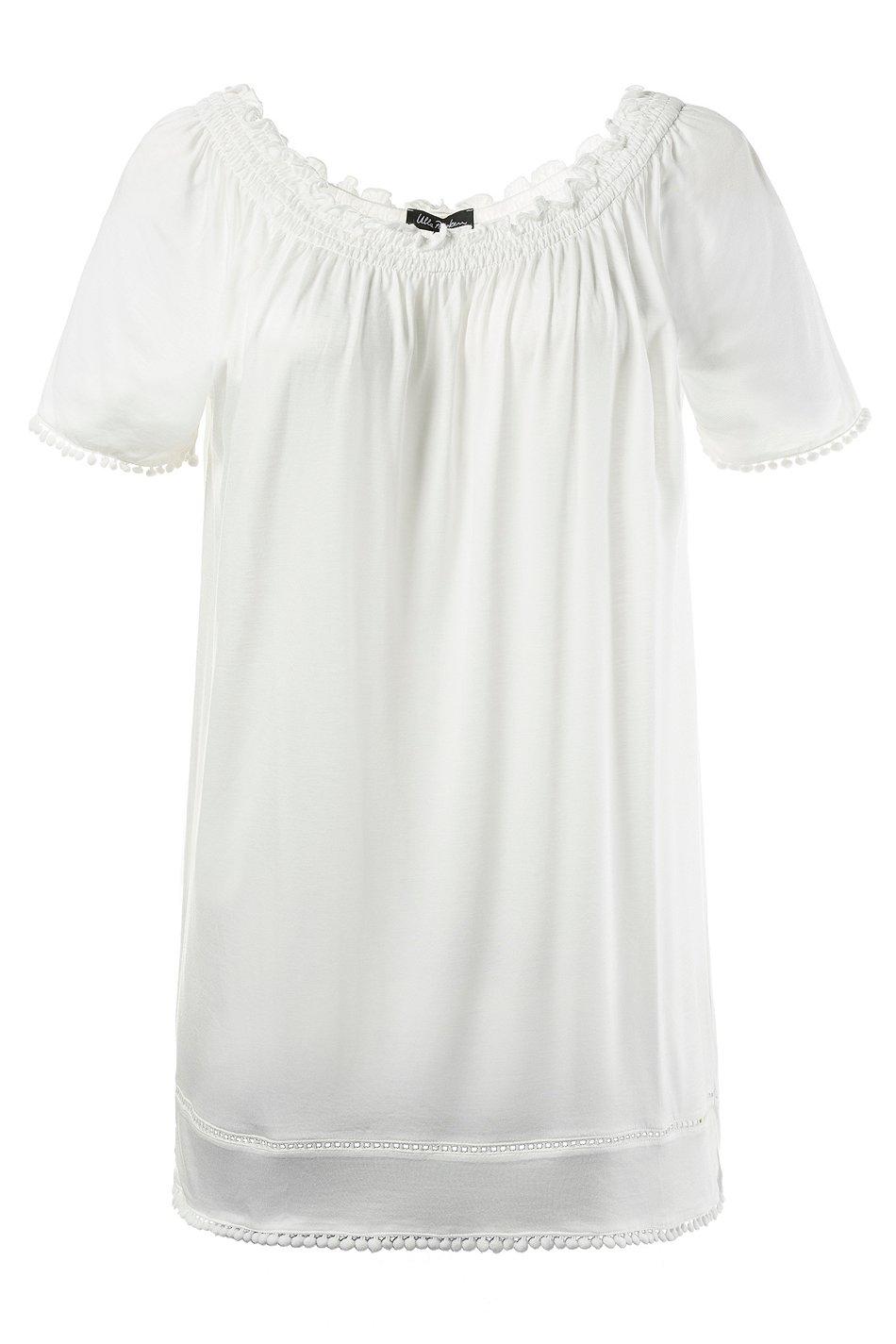 ULLA POPKEN T-Shirt mit Bommelsaum ecru NEU