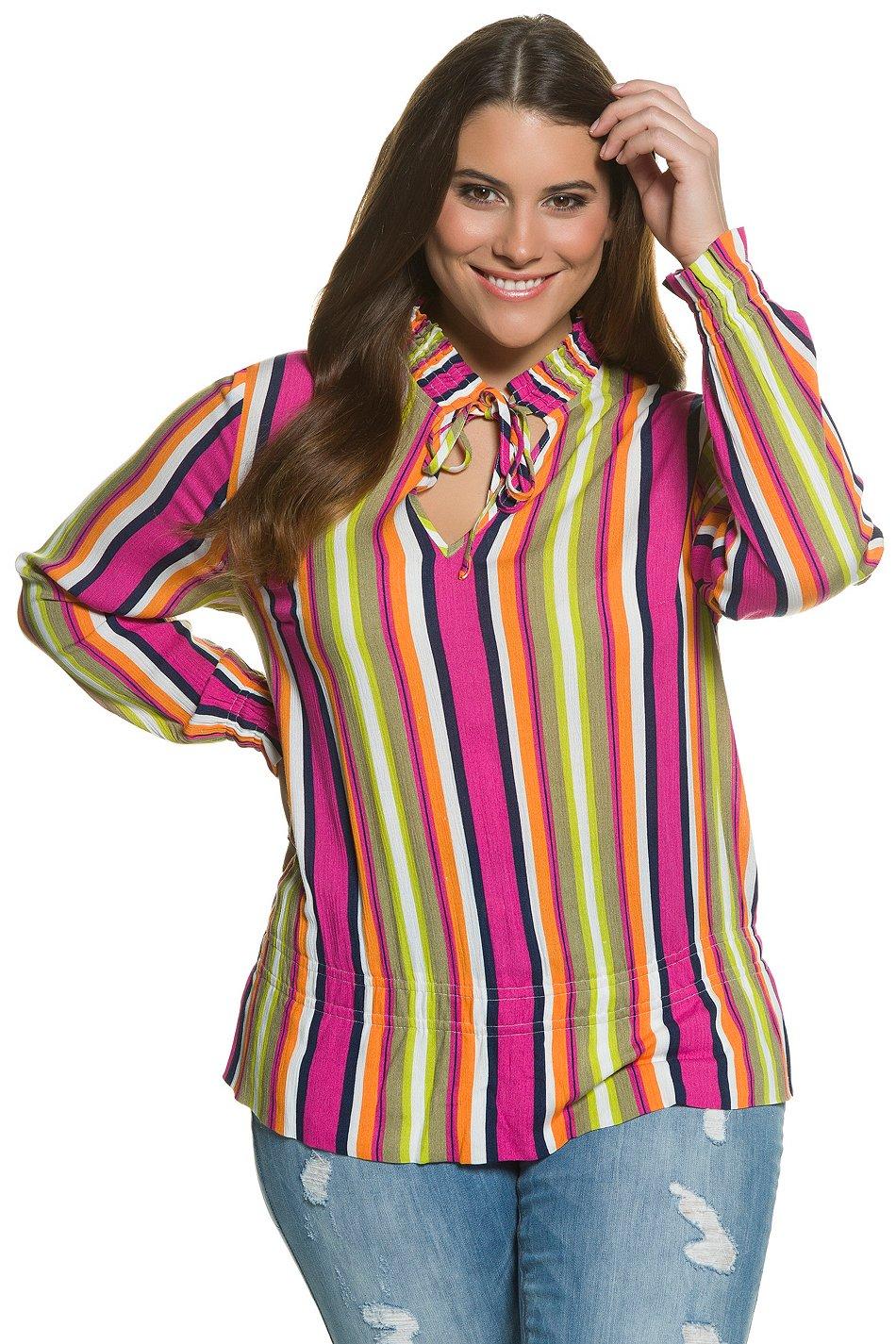 ULLA POPKEN Tunika mit Smokedetails multicolor NEU