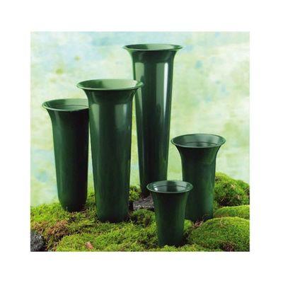 Grabvase Tulpenform grün H42cm Erdspieß Kunststoff Blumen Steckvase Friedhof