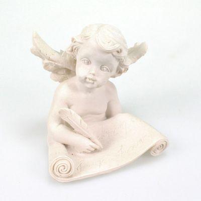 Engel mit Buch 8cm Polyresin weiß