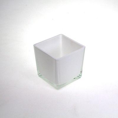 Vierkantgefäß Glas Eckard quadratisch eckig Pflanzgefäß Pflanztopf Topf 10cm weiß