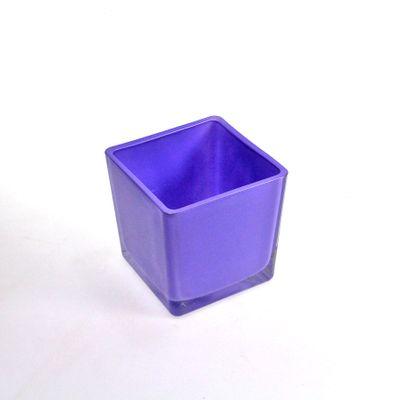Vierkant Gefäß Glas Eckard Pflanz-Gefäß Pflanztopf 6cm lila