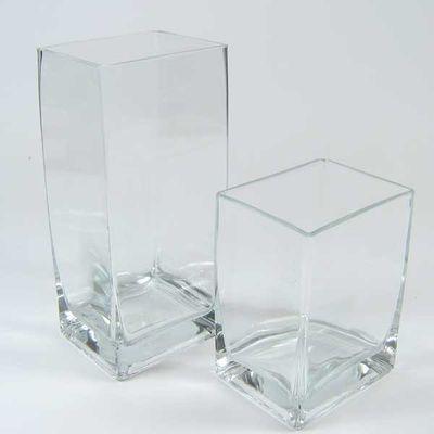 Vase Glas Vierkant Matrix Windlicht Glasvase 10cm x 8cm H 22cm