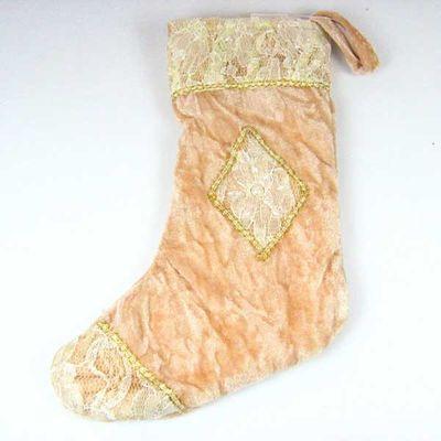 Stiefel Nikolausstiefel Weihnachtsstiefel Weihnachtsdeko Samt 30cm creme gold