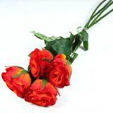 Rose halboffen künstlich Seidenblume Kunstblume 4 Stück ca. 46cm Länge