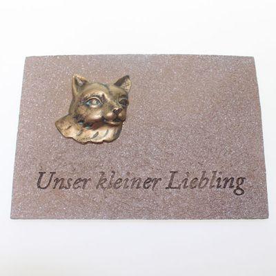 Gedenk Gedenkplatte Grabdekoration Grabschmuck Katze creme 19 x13,5cm Polyresin