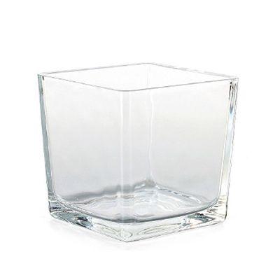 Vierkantgefäß Glas Eckard quadratisch eckig Pflanzgefäß Pflanztopf Topf 8cm klar