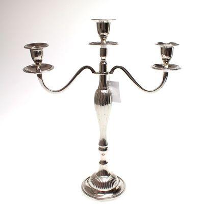 Kerzenleuchter 3-flammig Kerzenständer f. Stabkerzen Metall silber B 30cm H 35cm