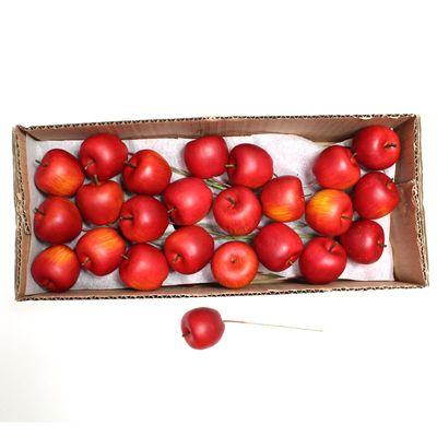 48 Äpfel Ø35mm künstlich rot am Draht Pick Herbst Advent Deko Apfel Stecker