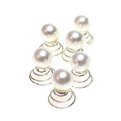 6 Curlies silberne Spirale mit 1 weißen Perle Haarschmuck Braut