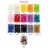 35 x Kunstperle 14mm Perlen Wachsperlen Dekoperlen Bastelperlen mit Loch Kunstperlen