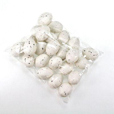 24 Eier ca. 6cm Kunststoff Kiebitzeier weiß gesprenktelt Ostereier Wachteleier