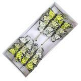 24 Feder - Schmetterlinge Stecker 7cm künstliche