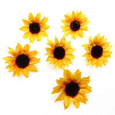 48 Sonnenblumenköpfe 3,5cm Streudeko Blume Sonnenblume künstlich