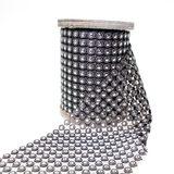 2m Paillettenband Band Nieten Pailletten 8cm breit Kunststoff silber bedruckt