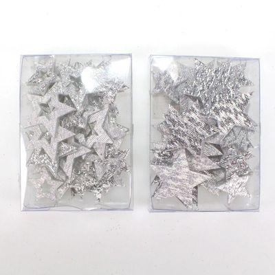 36 x Streu Stern oder Schneeflocke Acryl silber Floristik & Basteln ...