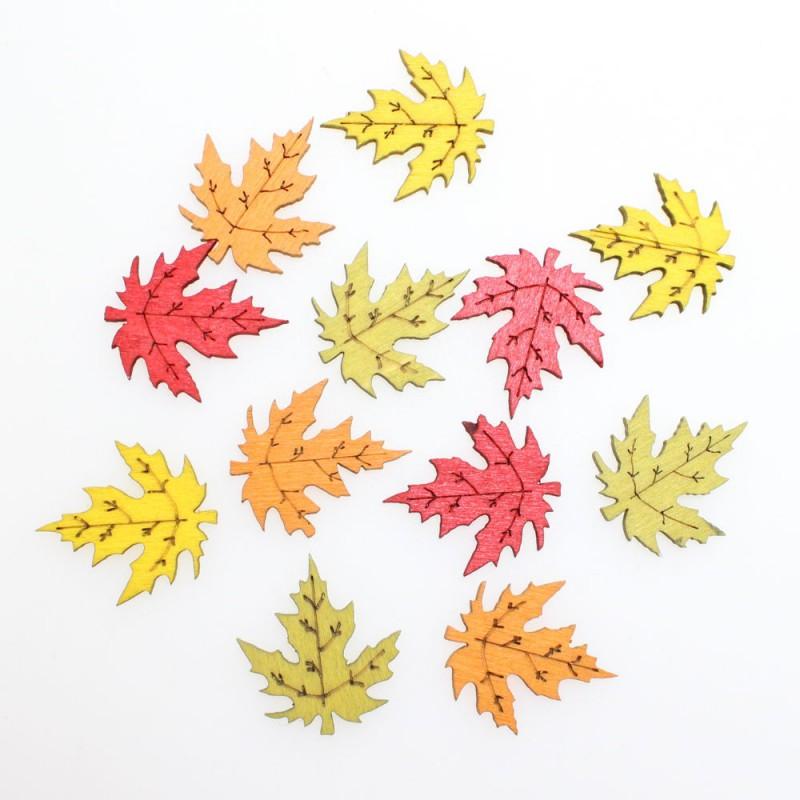 72 x Herbstblätter Streu Holz 4 Farben ca. 2,5cm Herbstlaub Herbst ...