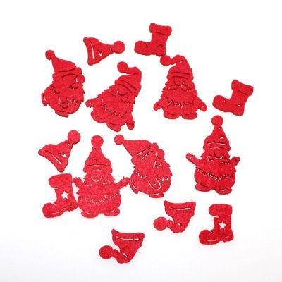 14 x Streu Wichtel Stiefel Mütze Filz rot 7-fach sortiert 2,5-5,5cm