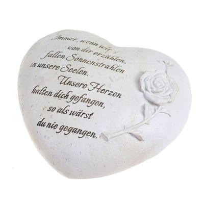 Trauerherz mit Rose ca 20cmx19cm Herz Gedenk Grabherz Gedenkstein steinweiß