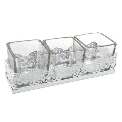 3 Teelichthalter Glas auf Metalltablett 17x5x5cm Set Windlicht Windlichter Kerzenglas