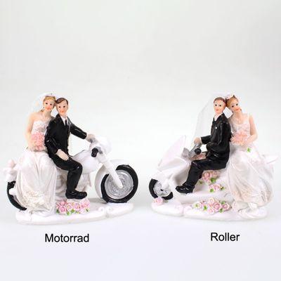 Brautpaar auf Motorrad Roller Polyresin ca.13x6x12cm Tortenfigur Hochzeit