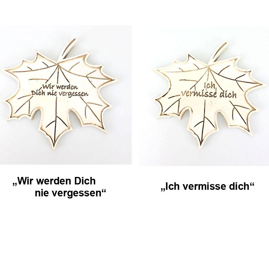 Ahornblatt Trauer mit Spruch ca. 13x12cm Grabdeko steinweiß ...