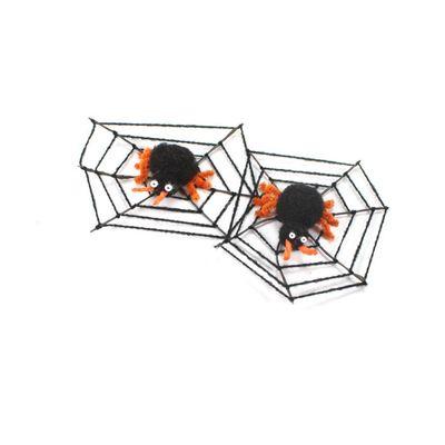 2 Spinnennetze mit Spinne Halloween ca 7x7cm