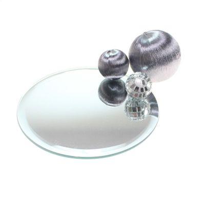 1 Spiegeluntersetzer Spiegelteller Spiegelplatte Untersetzer D12cm rund gefast