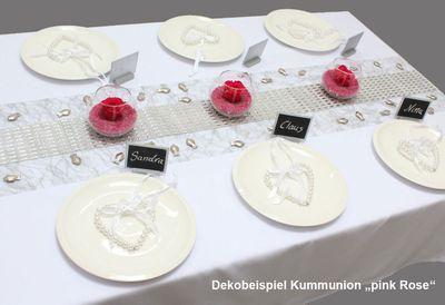 """Tischdeko-Set Kommunion Typ 1  """"pink Rose"""""""