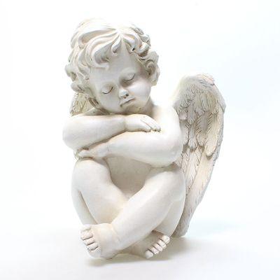 Engel Samuel groß sitzend H28cm steinweiß Polyresin Figur Gartendeko  Skulptur