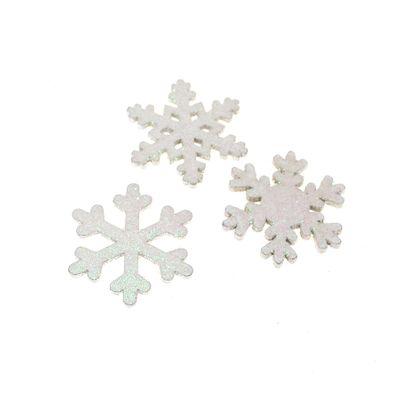 48 Schneeflocken 3,5cm Streu weiß irisierend 3-fach sortiert Holz Streudeko Winter