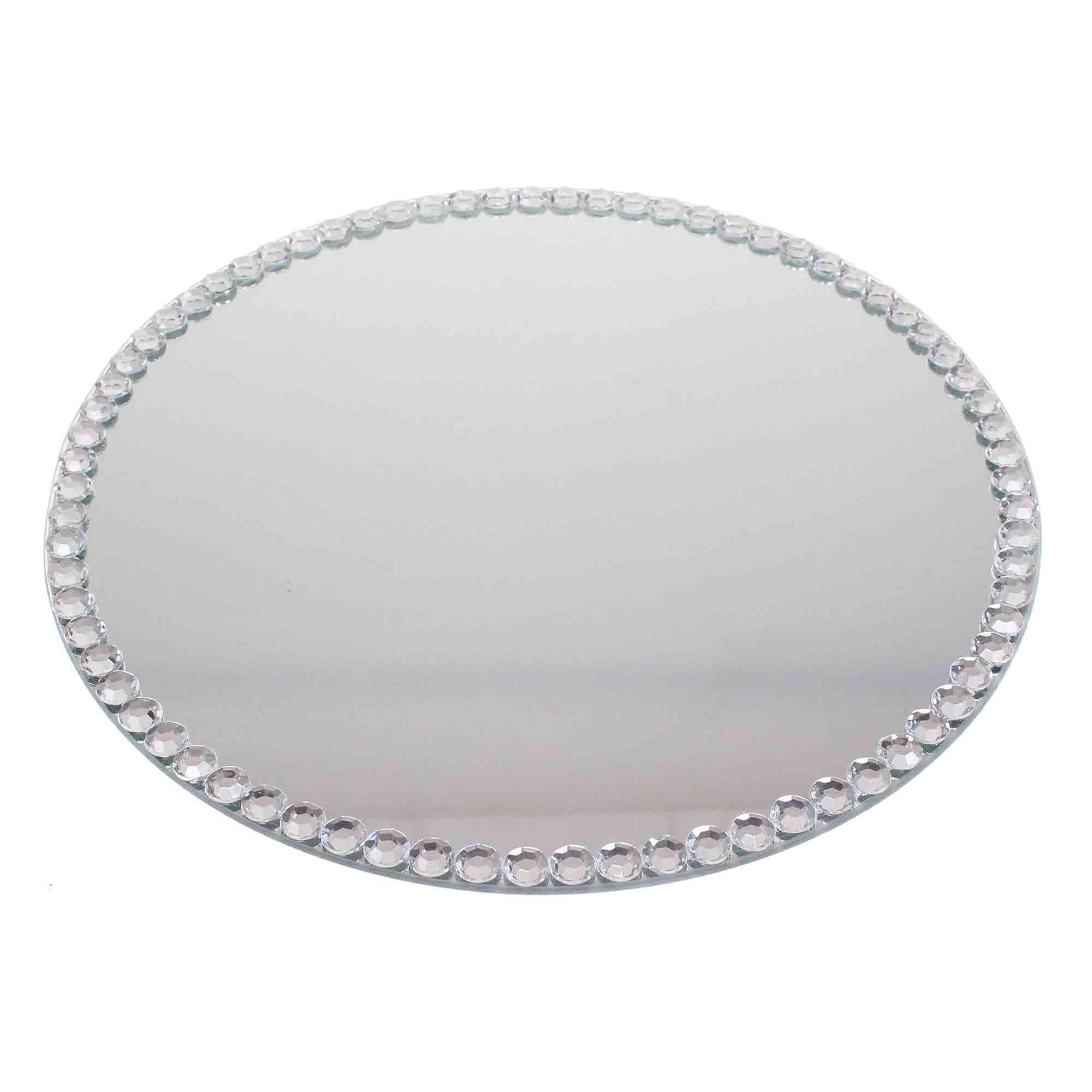 spiegel 30cm rund diamantrand 12mm spiegeluntersetzer. Black Bedroom Furniture Sets. Home Design Ideas