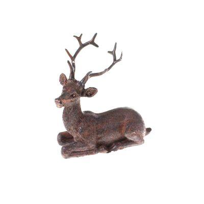 Hirsch Figur liegend ca L10cm H10,5cm bronzefarben Polyresin braun antik