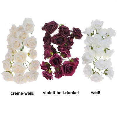 18 x Rosen Schaumblüte mit Drahtstiel ca L 25cm Ø 7cm Foam