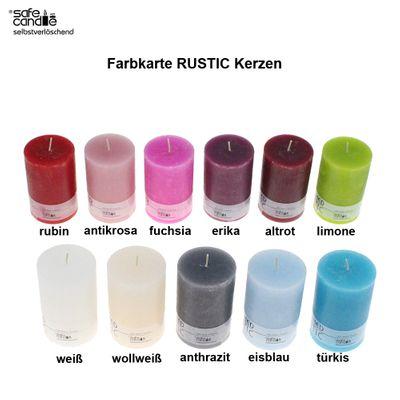 1 Kerze Rustic 110 × 70mm selbstverlöschend safe candle Stumpenkerze