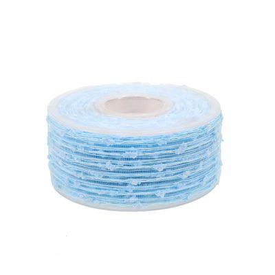 10m × 40mm Gitterband mit Wölkchen hellblau Schleifenband Geschenkband Dekoband