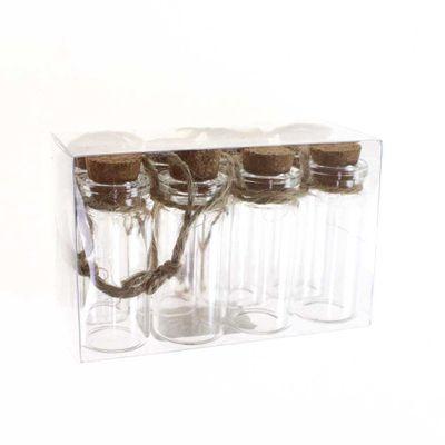 8 Glasflaschen mit Korken und Aufhänger mini H 5,5cm D 2cm ca 10ml Flasche Glas
