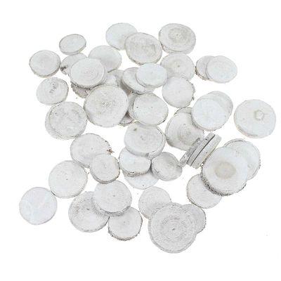 50 Astscheiben rund 3-5cm weiß white wash Holz Holzscheiben Scheibe Tischkarten