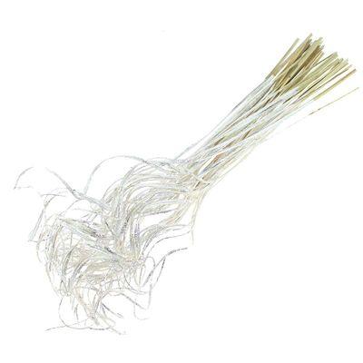 ca. 50 Stück Twisted Curly Zweige ca 65cm weiß white wash silber Glitzer gelockt wellig Palmwedel Äste