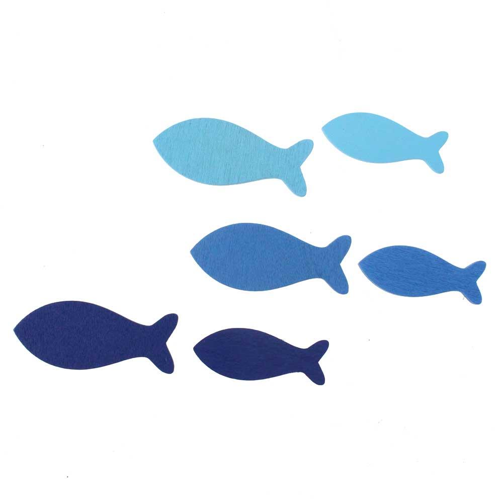 72 Fische Holz Blau 3 Farben 2 Formate Kommunion