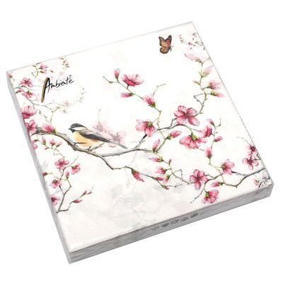 20 Servietten Magnolie Vogel Blüten Schmetterling 3-lagig 33x33cm Tissue Garten