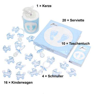 Tischdeko Set Babyfüße 10 Pers. hellblau Kerze Servietten Taufe Geburt Babysteps