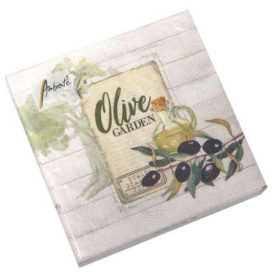 20 Servietten Olive Garden 3-lagig 33x33cm Tissue Oliven Italien Italia Toskana Antipasti