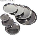 Edelstahl Teller 20-60cm Untersetzer Tablett Geschirr Platte Napf Servierplatte