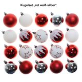 20 Kunststoff Christbaumkugeln rot weiß silber Mix 6cm Weihnachtskugeln Kugeln Dekor