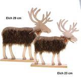 Hirsch Rentier Holz Fell ca29x31/22x23cm Elchfigur Figur Winter Deko Weihnachten
