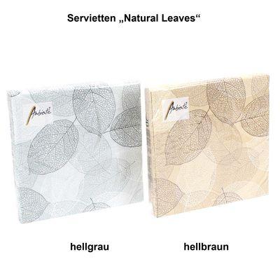 20 Servietten Natural Leaves 3-lagig 33x33cm Tissue Blatt Blätter Natur Herbst
