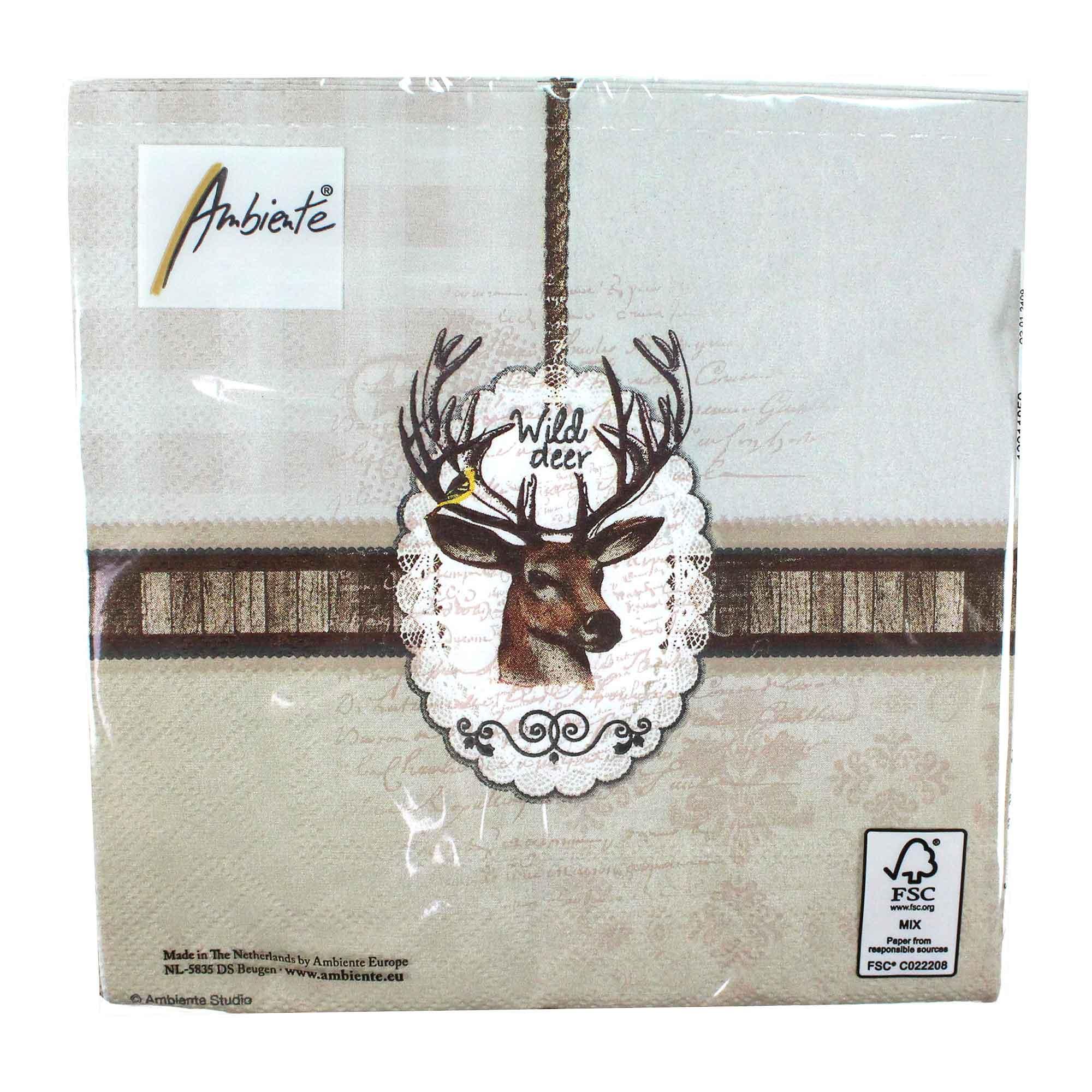 20 Servietten Hirsch Wild Deer 3 Lagig 33x33cm Tissue Jagd